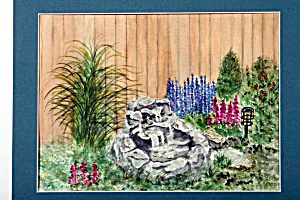Garden Waterfall and flowers (Image1)