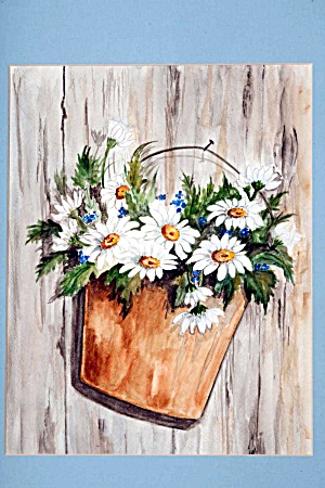 Pail Of Daisies On A Fence