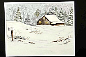 Cozy lit house in a snowstorm (Image1)