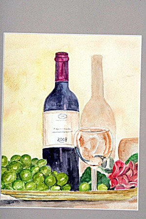 Wine Bottle, Grapes And Flowers