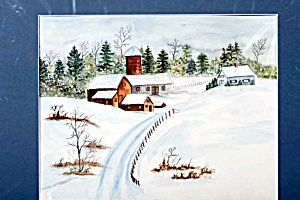Snowy Farm Road - Watercolor Painting