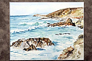 Rocky Shore Seascape With Rolling Surf