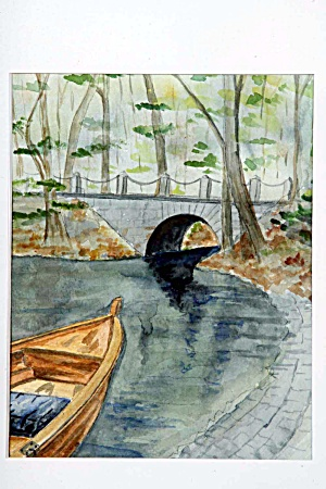 Rowboat And Bridge In Autumn