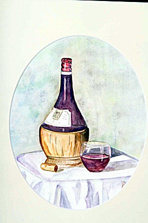 Chianti Bottle and Glass of Wine (Image1)