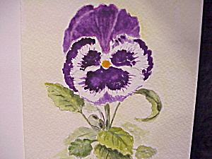 HAND PAINTED WATERCOLOR BLANK GREETING OR NOTE CARD (Image1)