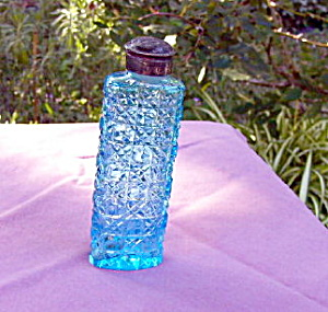 Cut Glass Blue Talcum Bottle