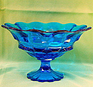 Blue Flint Glass Compote