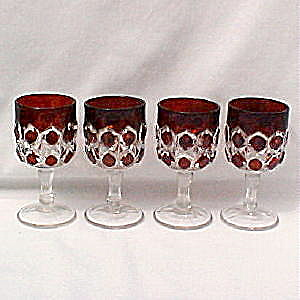 Ruby Flashed Model Gem Wines (set of 4) (Image1)