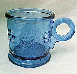Rare Lincoln - Garfield Assassination Mug - Blue