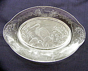 Frosted  Stork Bread Plate	 (Image1)