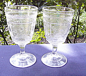 Eapg Willow Oak Goblets (Set Of 2)