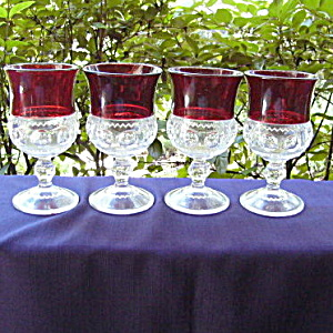Ruby Thumbprint Goblets (set of 4)	 (Image1)