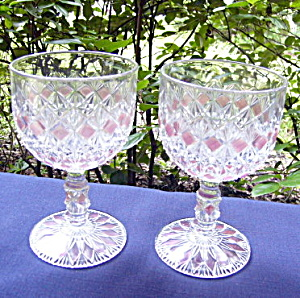 Finecut And Block Pink Stained Goblets (Pair)