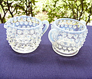 Fenton Hobnail Creamer and Sugar (Image1)