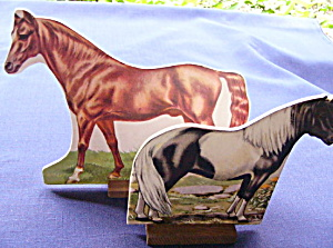 Toy Cardboard Lithographed Horses (2) (Image1)