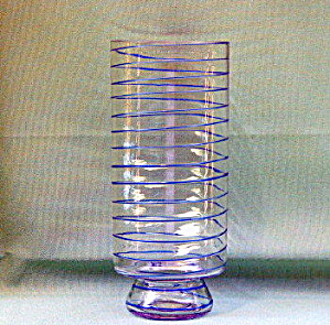 Czechoslovakia Threaded Glass Vase