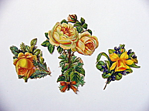 Victorian Die-cut Yellow Flowers