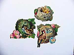 Victorian Die-Cut Nests with Birds	 (Image1)