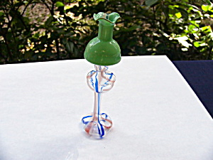 Miniature Blown Glass Lamp with Colored Threads (Image1)