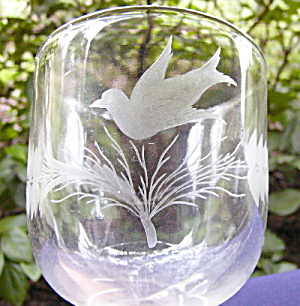Wheel Cut and Etched Bird and Fern Goblet (Image1)