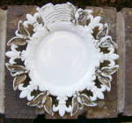 Click here to enlarge image and see more about item 5368: Flag, Eagle and Fleur de Lys Milk Glass Plate