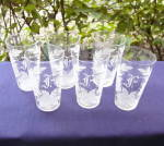 Click here to enlarge image and see more about item 6203-8: Flower Etched Juice Glasses (set of 6)