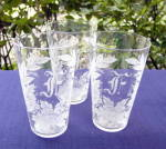 Click to view larger image of Flower Etched Juice Glasses (set of 6) (Image2)