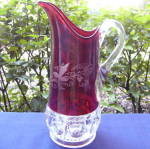 Click here to enlarge image and see more about item 6222: Kings Crown Ruby Tankard Pitcher