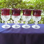 Click to view larger image of Ruby Thumbprint Goblets (set of 4) (Image1)