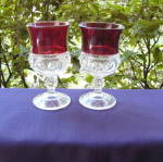 Click to view larger image of Ruby Thumbprint Goblets (set of 4) (Image2)
