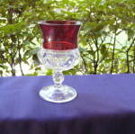 Click here to enlarge image and see more about item 6263: Ruby Thumbprint Goblet Auburn, NY