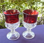 Click to view larger image of Ruby Thumbprint Goblets (2)	 (Image1)