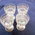 Finecut and Block Pink Stained Goblets (set of 4)