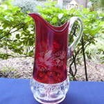 Click to view larger image of Kings Crown Ruby Thumbprint Tumblers and Pitcher (Image2)
