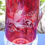 Click to view larger image of Kings Crown Ruby Thumbprint Tumblers and Pitcher (Image3)