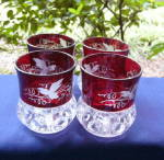 Click to view larger image of Kings Crown Ruby Thumbprint Tumblers and Pitcher (Image5)