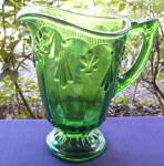 Emerald Green Fleur de Lis Water Pitcher