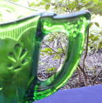 Click to view larger image of Emerald Green Fleur de Lis Water Pitcher      (Image2)