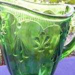 Click to view larger image of Emerald Green Fleur de Lis Water Pitcher      (Image4)