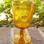 Click to view larger image of Rose Sprig Amber Goblet (Image1)