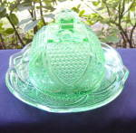 Click here to enlarge image and see more about item 6347: Massachussetts Green Butter Dish Reproduction