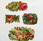 Click here to enlarge image and see more about item DC19: Victorian Die-Cuts Roses and Baskets