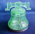 Click here to enlarge image and see more about item PH03: Westmoreland Liberty Bell candy container