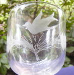 Click to view larger image of Wheel Cut and Etched Bird and Fern Goblet (Image1)