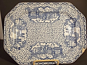 Flow Blue Tea Leaf Ironstone Platter