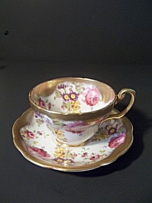Vintage Floral Teacup And Saucer With Gilded Edge