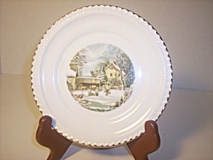 Snack Plates With Currier & Ives Prints