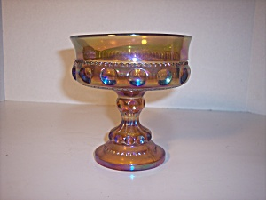 Amber Carnival Glass Mini Compote Kings Crown #77