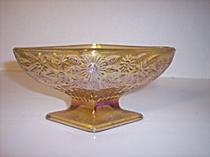 Indiana Marigold Carnival Glass Diamond Footed Dish