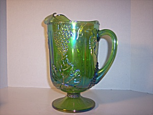 Indiana Green Carnival Glass Footed Large Pitcher